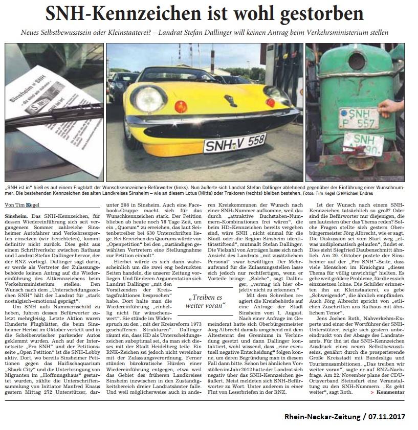 Bericht RNZ SNH-Kennzeichen-Absage Dallinger_07112017