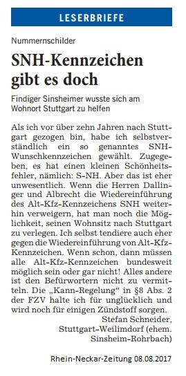 Leserbrief Stefan Schneider 08.08.2017