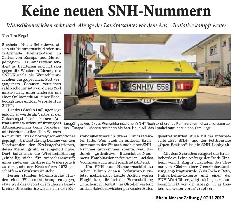 Bericht RNZ Region MRN SNH-Kennzeichen-Absage Dallinger_07112017
