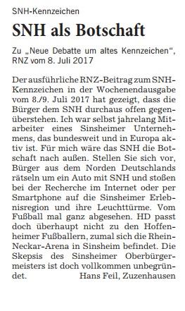 Leserbrief Feil SNH 26072017